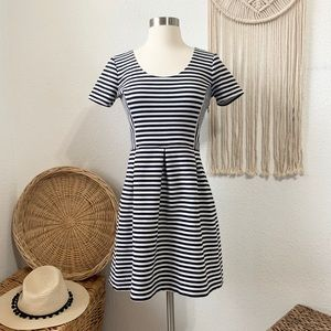 J crew scoop neck striped fit and flare dress
